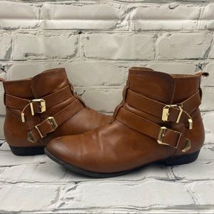 Aldo genuine leather brown booties, gold buckles